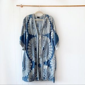 NEW Blue Embroidered Kimono Duster One Size